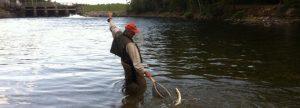 Salmon fishing on a Maine lake